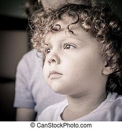 肖像画, 悲しい, 男の子