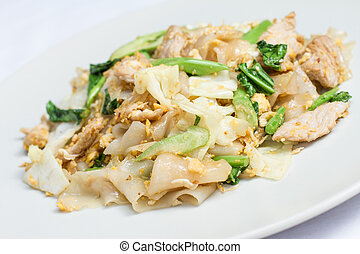 Pad Se-ew Moo, Thai food - stir fired thin noodles with soy...