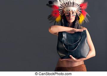 torba, amerykanka, indianin, dziewczyna