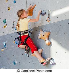 青少年, 攀登, 岩石, 牆