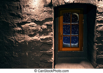 Scene with frost window - Merry Christmas. scene with frost...