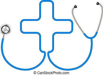 Stethoscope in shape of medical cross in blue design on...