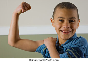 9 Year Old Multi Racial Boy Showing Off His Muscles - Cute 9...
