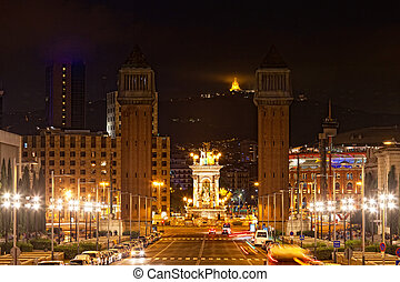 Espanya Square in Barcelona and National Palace at night