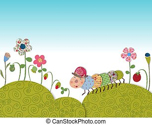 Little caterpillar - Colorful graphic illustration for...