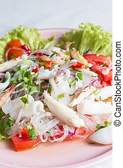 Yum Woon Sen, Thai seafood spicy salad - cellophane noodle...