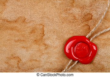 Sheet of old paper with wax seal - Dirty sheet of old paper...