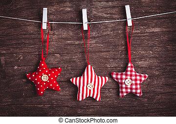 sewed christmas decor - White and red sewed christmas stars...