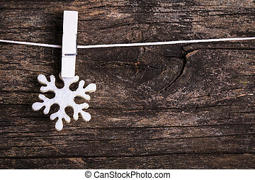 White christmas - White snowflake decoration attached to the...