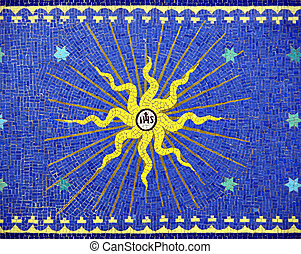 mosaic - Christ simbol, IHS, in an artistic mosaic