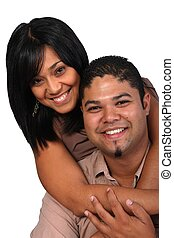 Classy Couple - Stylish young multi thnic couple on white...