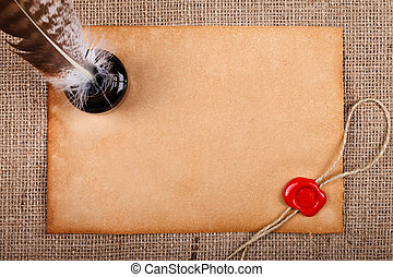 Old paper with wax seal - Old blank paper with wax seal, and...