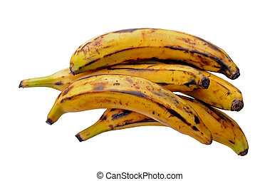 a group of plantain bananas isolated on white