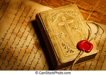 Old prayer book with wax seal stamp - Old prayer book with...