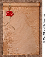 Parchment with wax seal stamp on burlap - Empty parchment...
