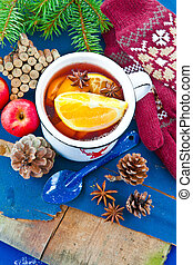 Hot punch for winter - Hot punch with fresh oranges for...