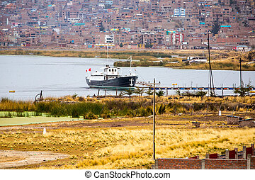 Lake Titicaca,South America, located on border of Peru and...
