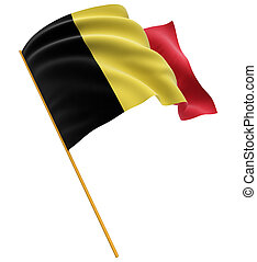 3D Belgian flag with fabric surface texture White background...