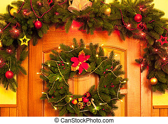Christmas wreath and border on the door
