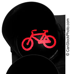 bicycle symbol with red light on stop cyclists