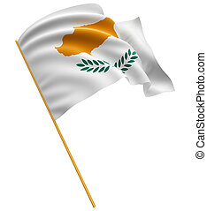 3D Cyprus flag with fabric surface texture White background...