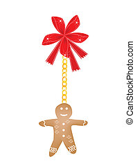 Gingerbread Man Cookie Hanging on A Red Bow