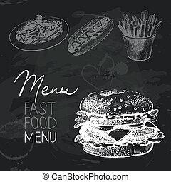 Fast food hand drawn chalkboard design set. Black chalk...