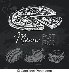 Fast food hand drawn chalkboard design set. Black chalk...
