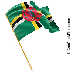 3D Dominica flag with fabric surface texture. White...