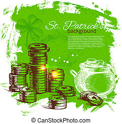 St. Patrick's Day background with hand drawn sketch...