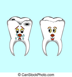 Happy healthy and sad sick teeth. Funny cartoon illustration