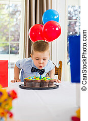 Boy Blowing Candles On Cake - Boy blowing candles on...