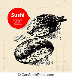 Hand drawn sushi illustration. Sketch background