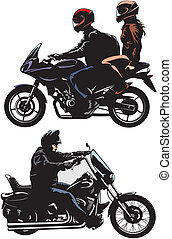 man and couple riding bike - people ride motorcycles - easy...