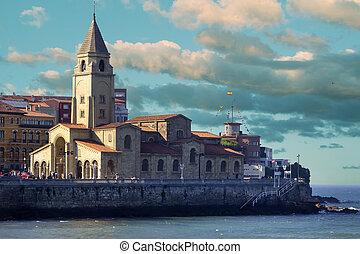 Church next to the sea Santiago Apostol in Gijon, Spain