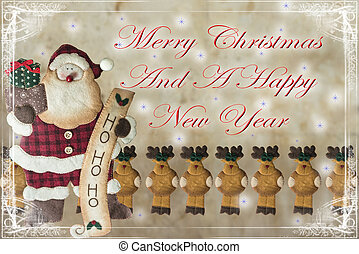 Christmas card with Santa Claus - Christamas card with a...