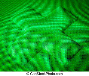 Green Fabric Cross - A Green Cross Embossed In Fabric