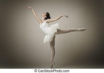 bailarina, balé,  pose, Retrato