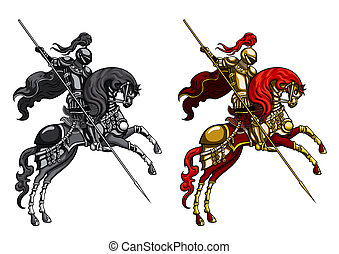 %u0421hampion Knight on a horseback - Illustration...