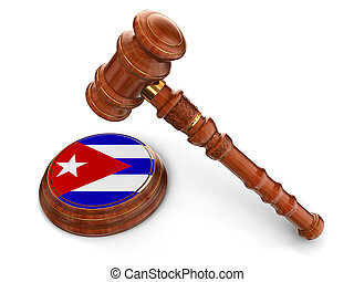 Wooden Mallet and Cuban flag