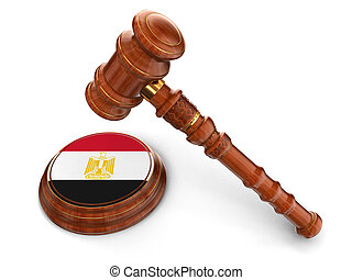 Wooden Mallet and Egyptian flag - 3d wooden mallet and...