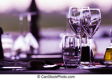 Wine Glasses - Empty wine glasses in a elegant restaurant