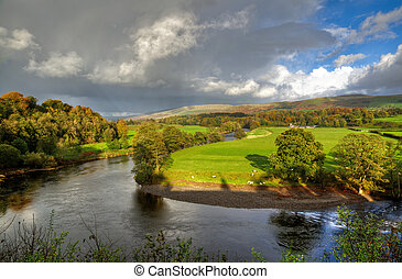 River Lune in Kirkby Lonsdale - View of a bend in the River...