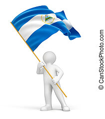 Man and Nicaragua flag Image with clipping path