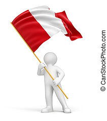 Man and Peruvian flag - Man and Peruvian flag. Image with...