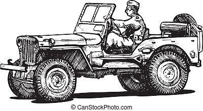 World war two army jeep - Vector drawing of army jeep...
