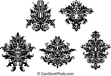 Floral damask patterns set