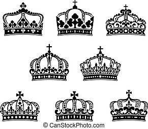 King and queen heraldic crowns set - King and queen crowns...