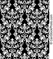 Damask seamless pattern background with decorative floral...