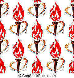 Seamless, patrón, antorcha, fuego